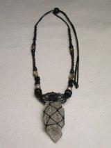 水晶とスモーキークォーツ原石ネックレス
